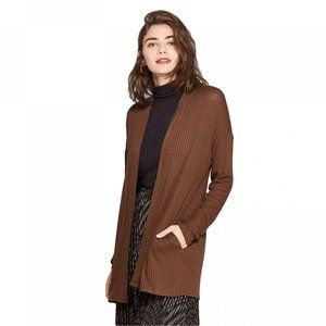 NEW A New Day Layering Rib Cardigan Small Brown